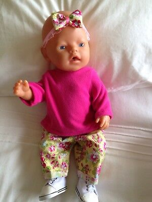 """Doll Clothes to fit 17"""" Baby Born doll ~ 3 Piece Set. Lemon Flowers Pink Top"""