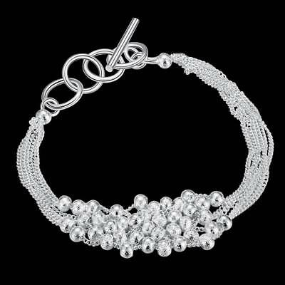 Fashion 925Sterling Solid Silver Jewelry Chain Frosted Bracelet For Women H030