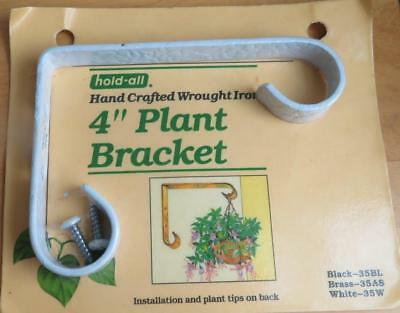 """NEW VTG AmerTac Hold-All Hand Crafted Wrought Iron White 4"""" Plant Bracket 35W"""