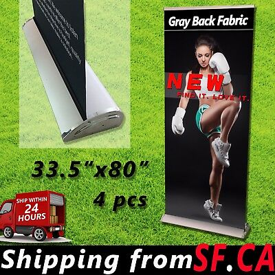 "4 pack,33.5"" x 80"" PREMIUM Retractable Roll Up Banner Stands Trade Show Display"