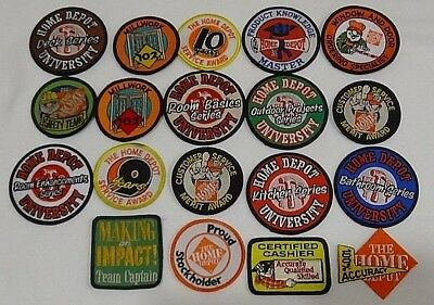 19 Home Depot Patches Lot ~ 9 & 10 Years Service Award Product Knowledge Awards