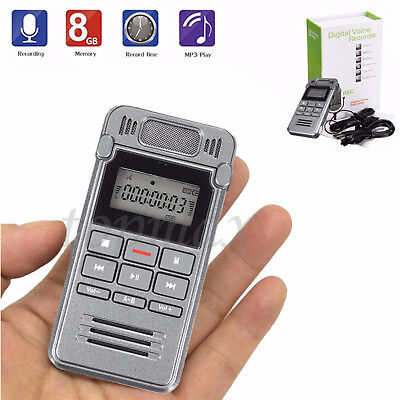 8GB Portable LCD Metal Digital Audio Voice Recorder Dictaphone MP3 Player UK NEW
