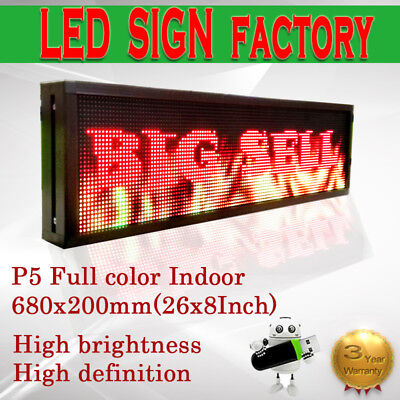"""8""""x 26"""" Full Color Video P5 HD LED Sign Programmable Scrolling Message Display"""