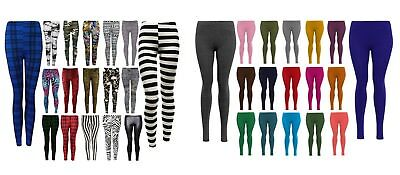 Women's/Ladies Printed And Plain Skinny Full Length Stretchy Trouser Leggings