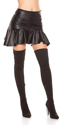 Damen Sexy  Wetlook Lederlook Rock Minirock mit Volant Gr.34,36,38,40 schwarz