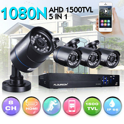 CCTV 8CH 1080P DVR Recorder 4x1500TVL Home Outdoor Security Bullet Camera System