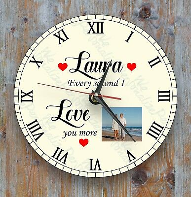 Personalised wall glass clock photo/text/logo Love Cute Gift Family Loved Ones