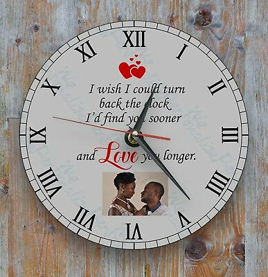 Personalised wall glass clock photo/text Romantic Gift Family Loved One wife