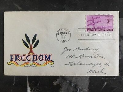 1944 USA Patriotic First Day Cover FDC Baltimore MD Freedom Of Speech From Fear