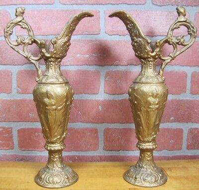 Antique Pair Lovely Maidens with Cherubs Ewers cast metal old gold paint ornate
