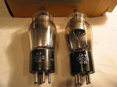 2 NOS JAN CRC-35 VT-35 RCA  tubes radio audio tested & stated