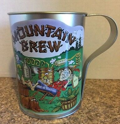 Vintage Mountain Brew Hillbilly 32 Oz Root Beer Mugs Novelty Tin Cups Moonshine