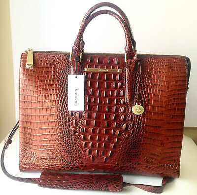 b6d228261 Brahmin Business Tote Brief Case Work Luggage Pecan Croc Leather Bag New