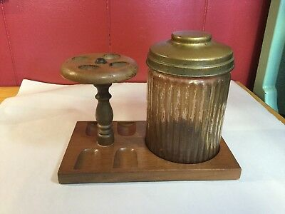 Vintage Dun Rite Wood Pipe Stand With Humidor