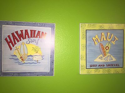 2 Hawaiian Surf Company Sign Wooden Plaques by Target Home Brands Surfing Fun
