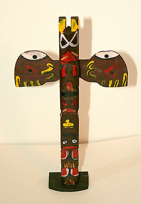 Vtg Carnival Prize Dime Store Totetum Pole Toy NOS New 1960 Hand Painted Wood