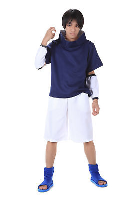 Naruto Shippuden Cosplay Costume Hidden Leaf Genin Uchiha Sasuke 1st Version Set