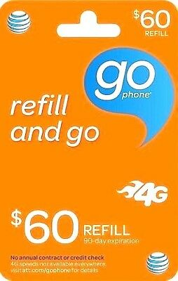 Reputable AT&T GoPhone $60 Refill Same Day Refill applied DIRECTLY to PHONE