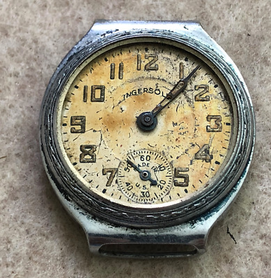 Vintage Ingersoll Men's Watch Parts/Repair Art Deco USA Case Wrist