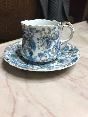 Lefton Hand painted Blue and white Floral Tea cup and saucer