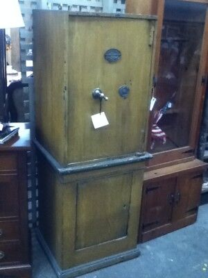 Antique Floor Safe 67 3/4 Tall x 23 1/2 Wide x 21 3/4 Deep Wooden W/ Shelves