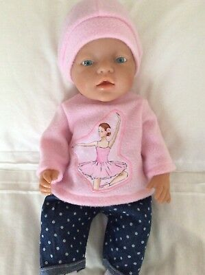 """Doll Clothes to fit 17"""" Baby Born doll ~ 3 Piece Set. Denim Spot Pink Ballerina"""