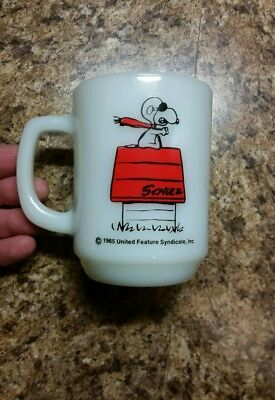 SNOOPY Mug Cup Curse You Red Baron COLLECTOR 1965 Peanuts RARE