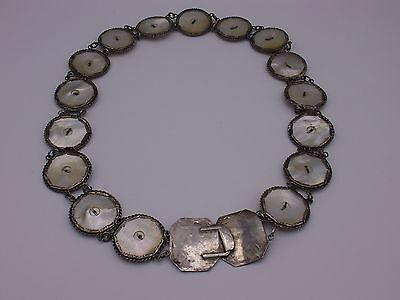 Antique chinese export silver belt mother of pearl hallmarked
