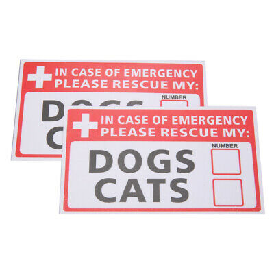 2Pcs Emergency Pet Alert Rescue DOG CAT Window Sticker First Rescue FIRE Safety