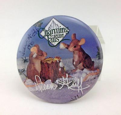 """Charming Tails Collector Pin-back Button Signed by Dean Griff 1995 3.25"""" Pin Lg"""