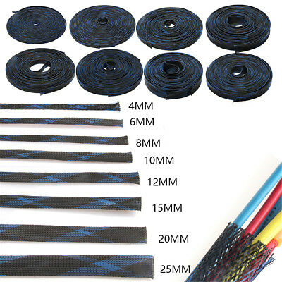 8MM Red PP Black PET Expandable Braided Sleeving Cable 1//3//5//10//20Meters