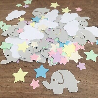 Elephant & Cloud Pastel CONFETTI | Baby Shower | Christening | Boy Girl Birthday
