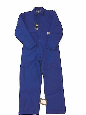 Carhartt Mens Size Xlarge Tall Blue Duck Coveralls Quilt-Lined Cotton Duck Nwt