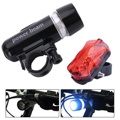 Waterproof 5 LED Cree Bike Bicycle Cycle Front and Rear Lights Super Bright New