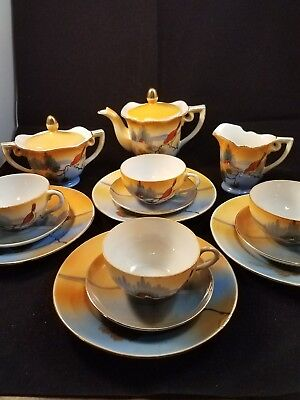 Vintage Hand Painted Childs Tea and Desert Set Made in Japan 17 piece FREE SHIP