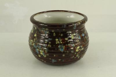 Vintage Ceramic Glazed Stacked Coil Planter Pot Speckled Brown Aqua Yellow Glaze