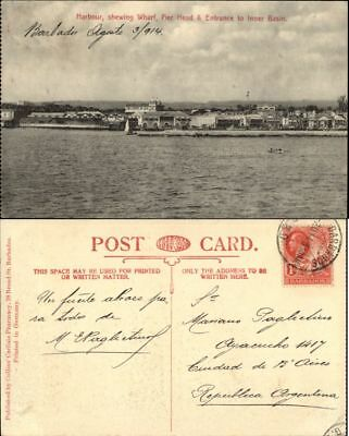 Barbados Harbour shewing Wharf Pier Head sw 1914