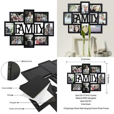 HANGING WALL DECOR Family Picture Frame Collage Wood Home Black ...