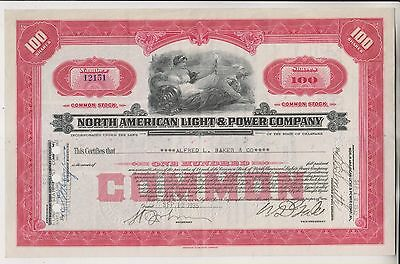 1935 North American Light & Power Company Stock Certificate - Delaware