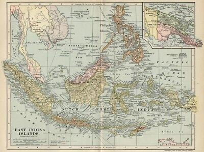Dutch East Indies; India Islands; Borneo Map: Authentic 1902 ( Dated 1903) Ports
