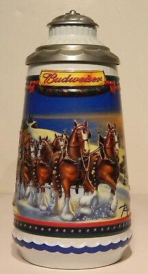 BUDWEISER 2002 Holiday Stein - GUIDING THE WAY HOME, Signature Edition, Lidded