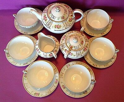 Nippon Noritake Tea Set With Six Cups And Saucers - Hand Painted Roses - Japan