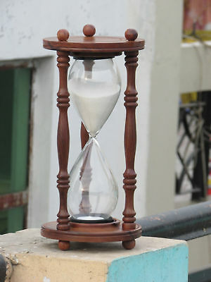 Antique Nautical Maritime Wooden Hourglass Sand Timer 11'' Height