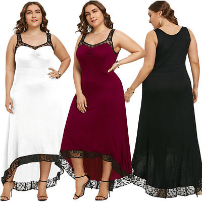 Plus Size Women Summer Long Maxi Sleeveless Cocktail Evening Party Prom Dress