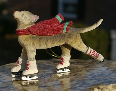 Ice Skating Grey Beige Tabby Cat Kitten with Red Scarf Christmas Ornament