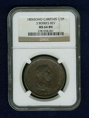 Great Britain George Iii 1806 1/2 Penny Choice Uncirculated Certified Ngc Ms64Bn