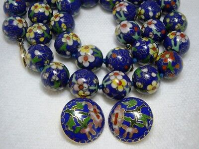 """Vintage Cloisonne Necklace & Earrings Chinese Royal Blue Jumbo Floral 3/4"""" Bead"""