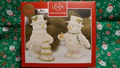 """Lenox """"happy Holly Days Decorate The Tree Snowman"""" S&p Shaker Set"""" -- New In Box"""