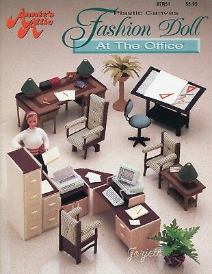 Fashion Doll At The Office ~ fits Barbie dolls, plastic canvas pattern booklet