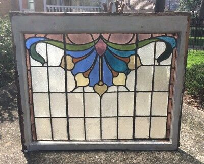 VINTAGE ANTIQUE STAINED GLASS WINDOW! WOOD WOODEN LEADED COLORED 1900s ENGLAND A